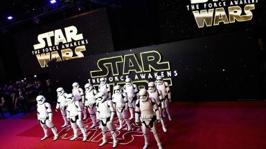 Stormtroopers on the red carpet at the European premiere in London