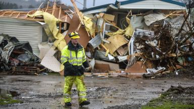 Caravan park: Site in Ballater after floods hit the north east.