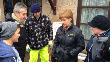 Nicola Sturgeon: Meets flood victims in Inverurie.