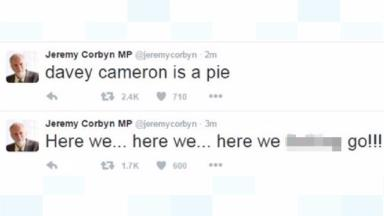 Two of the tweets posted on Jeremy Corbyn's account.
