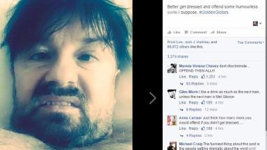 Ricky Gervais' Facebook post prompted a number of complaints.