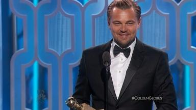 Leonardo DiCaprio with his Golden Globe for best actor.
