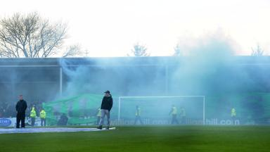Celtic fans at Stair Park ahead of kick off.