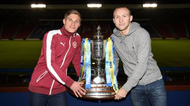 Hearts' Gavin Reilly (left) joins Hibernian's Dylan McGeouch after the Scottish Cup draw.