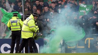 Flares were thrown from the Celtic end at their Scottish Cup match with Stranraer.