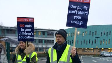 Strike: Lecturers across Scotland went on strike on Thursday.