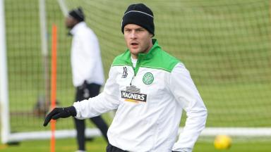 Celtic's Anthony Stokes being put through his paces at training.