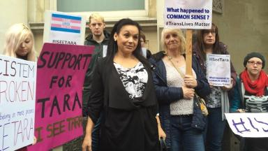 Campaigners for transgender prisoner Tara Hudson, who was held in an all-male prison last year.