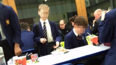 The Prince was seen chatting with staff and pupils at the school.