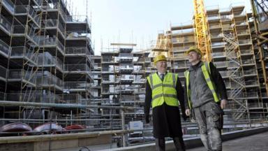 Housing: Alex Neil visits the construction site.