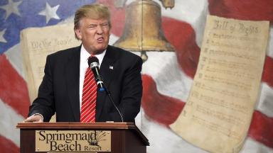 Trump speaks at the South Carolina Tea Party Coalition Convention in Myrtle Beach on 16/01/16.