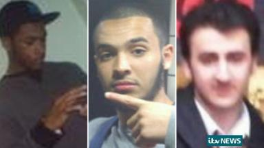 Nyall Hamlett (left) Tarik Hassane (centre) and Suhaib Majeed (right) are three of the four men on trial.