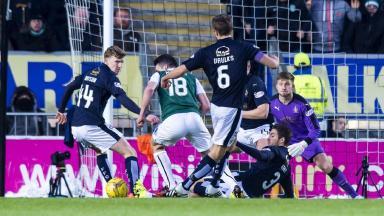 Hibernian's John McGinn (18) is seen to be brought down in the box by Falkirk's Luke Leahy.