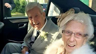 Bill and Flo Griffiths enjoyed the rare honour of exchanging their marriage vows in front of their grandchildren.