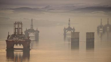 Cromarty Firth: Stacked oil rigs a sign of downturn (file pic).