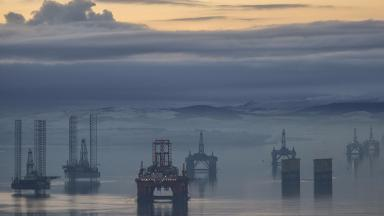 Cromarty Firth: Oil rigs stacked due to downturn.