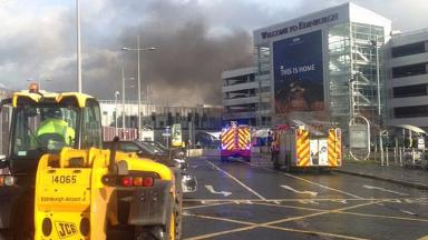 Airport: Firefighters tackle blaze at Edinburgh Airport car park.