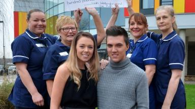 Leah Washington and Joe Pugh raised nearly £7,000 for nurses at Royal Stoke University Hospital.