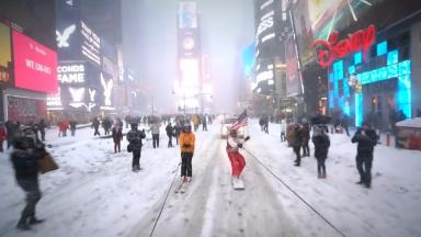 Casey Neistat and Jesse Wellens travel through Times Square.