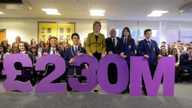 Announcement: Nicola Sturgeon confirmed allocation of funding for new schools.