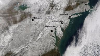 Satellite imagery following the US snowstorm