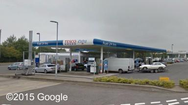 Fuel spill: Staff were evacuated from the Tesco petrol station.