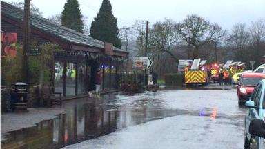 River Forth: Water flooded the main road through Aberfoyle.