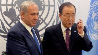 Benjamin Netanyahu (left) with UN Secretary-General Ban Ki-moon.
