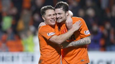Celebration: Paul Paton (right) enjoys John Rankin's goal against Kilmarnock.