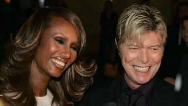 Bowie, right, with wife Iman in 2005.