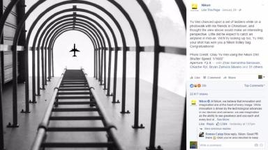 The doctored image of a plane apparently flying over a ladder won a Nikon competition.