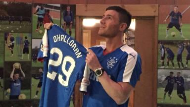 New deal: Michael O'Halloran is unveiled at Murray Park as a Rangers player.