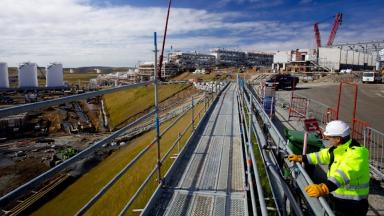 Shetland: Gas terminal under construction.