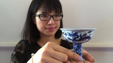 Star lot: Ling Zhu, Asian specialist at Lyon and Turnbull, with the rare cup.