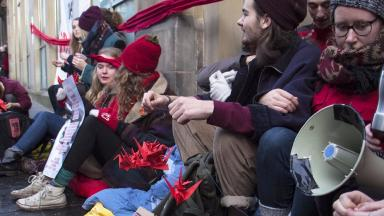 Edinburgh: Protest over controversial university investments.