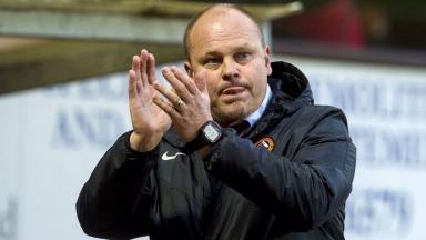 Celebration: Dundee Utd claimed victory on Saturday.
