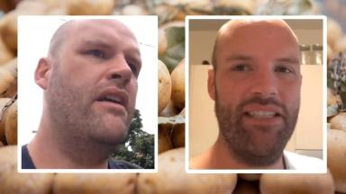 Before and after: Andrew has reportedly already lost 37lbs on his potato-only diet