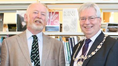 Stirling Makar: Clive Wright with provost Mike Robbins.