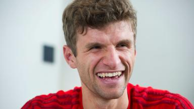 Joker of the pack: Never a dull moment when Thomas Muller is around.