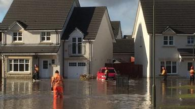 Flooding: Emergency services at the scene in Bathgate.