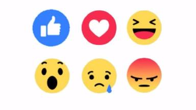 The new buttons convey Like, Love, Haha, Wow, Sad or Angry.