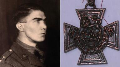 Lieutenant Colonel Philip Bent and his Victoria Cross medal.