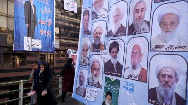 Electoral posters for the upcoming elections in central Tehran show who the public will be voting for