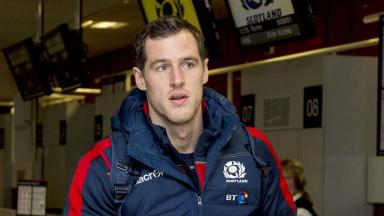 Flight: Tim Visser checks in for Scotland