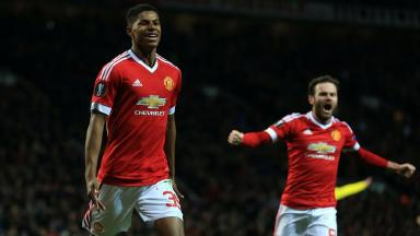Debut: Marcus Rashford scored twice on his Man Utd bow.