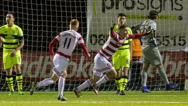 Equaliser: Eamon Brophy levelled the scoreline for Accies.