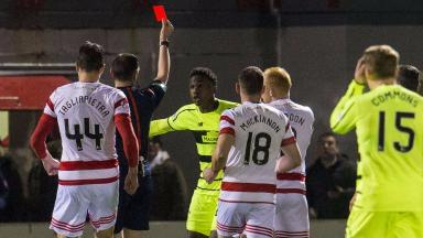 Dismissed: Dedryck Boyata was shown a red card.