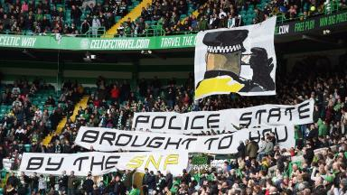 Celtic banner,Offensive Behaviour in Football Act,Football Fans,Quality News Image,March 1 2015