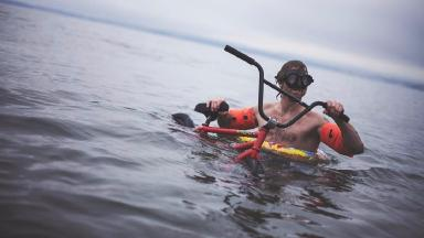Daring: Jason Phelan is to attempt a BMX boat stunt on Scotland's west coast.