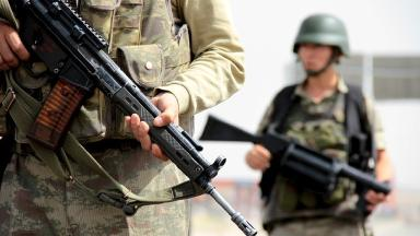 File picture of Turkish soldiers standing guard.